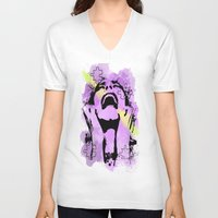 scream V-neck T-shirts featuring Scream by Katerina Gold