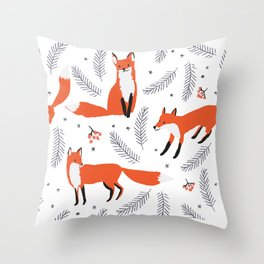 Red foxes and berries in the winter forest Throw Pillow