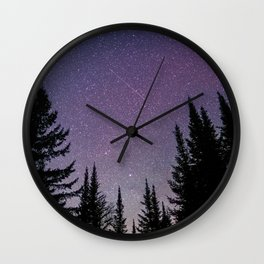 North Woods Starry Night Pines Wall Clock