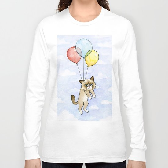 Cat With Balloons Grumpy Birthday Meme Long Sleeve T-shirt