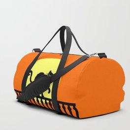 Black Cat Green Eyes on Fence Yellow Full Moon Orange Duffle Bag
