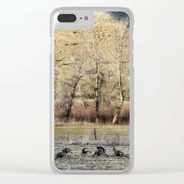 Landscape with Turkeys and Trees Clear iPhone Case
