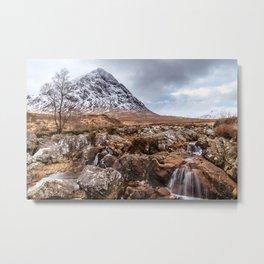 Etive Mor Waterfall Metal Print