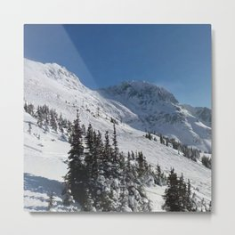 Mountains color palette of white-black-blue Metal Print