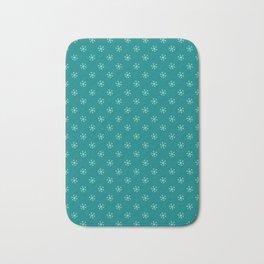 Magic Mint Green on Teal Green Snowflakes Bath Mat