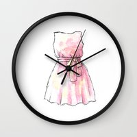 dress Wall Clocks featuring dress by Julia Badow