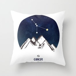 Astrology Cancer Zodiac Horoscope Constellation Star Sign Watercolor Poster Wall Art Throw Pillow