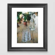 Wood Grain & Glasses  Framed Art Print