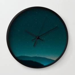 Beautiful Vintage Night Star Sky Turquoise Sky With Mountain Silhouette Wall Clock