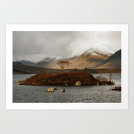 Lone Tree and Dusting of Snow in Mountains of Scotland Art Print