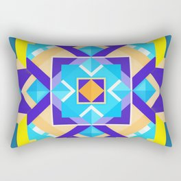 Geometric Tribal Mandala Inspired Modern Trendy Vibrant (Blue, Cobalt, Yellow, Orange, Purple) Rectangular Pillow