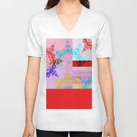 glitch V-neck T-shirts featuring Glitch  by Laina Catherine
