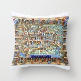 OXFORD university map ENGLAND dorm decor Throw Pillow