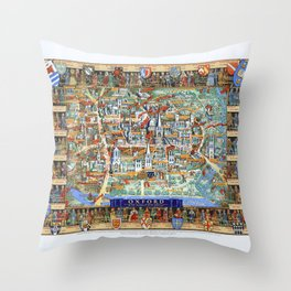 OXFORD university map ENGLAND dorm decor Throw Pillow