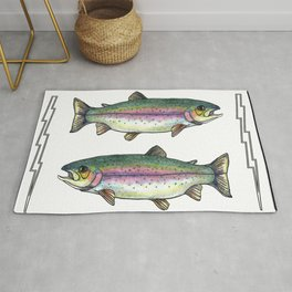 Double Rainbow Trout Rug