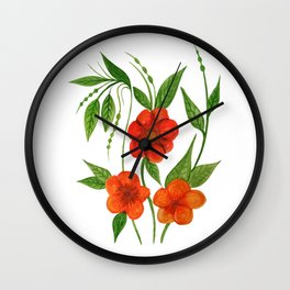 Red Flowers Design Wall Clock