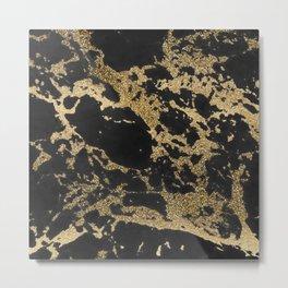 Modern faux gold glitter black marble Metal Print