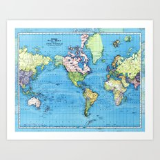Mercator Map of Ocean Currents Art Print