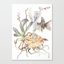 Sea shell Nature Illustration Black Goldfish Orchids Canvas Print