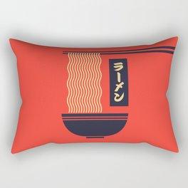 Ramen Japanese Food Noodle Bowl Chopsticks - Red Rectangular Pillow