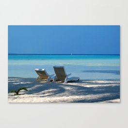 Sunloungers Canvas Print