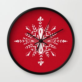 Large snowflakes on Christmas red Wall Clock