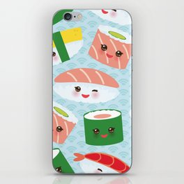 pattern Kawaii funny sushi rolls set with pink cheeks and big eyes, emoji iPhone Skin