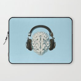 Mind Music Connection /3D render of human brain wearing headphones Laptop Sleeve