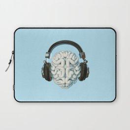 Mind Music Connection /3D render of human brain wearing headphones Laptop Sleeve