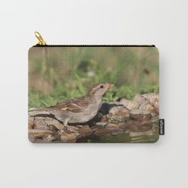 young sparrow at water and drink Carry-All Pouch