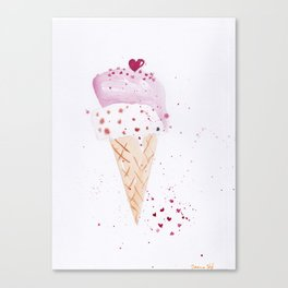Ice cream Love watercolor illustration summer love pink strawberry Canvas Print