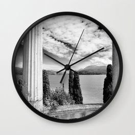 Roman Ruins, Garda, Sirmione, Italy landscape coastal black and white photograph / art photography  Wall Clock