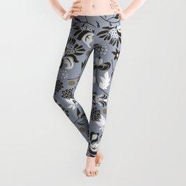 Victorian floral | slate gray Leggings