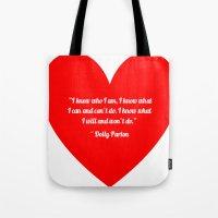 dolly parton Tote Bags featuring Dolly Parton by Geraldine Mattis