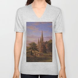 The Return Home medieval forest cathedral landscape painting by Thomas Cole Unisex V-Neck