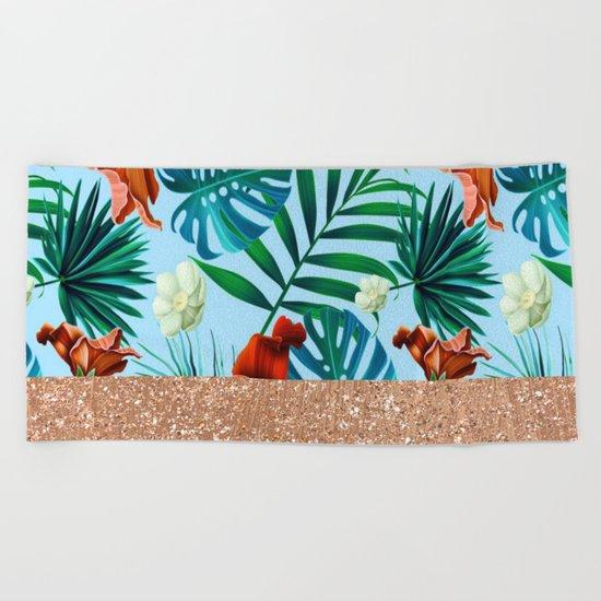 Tropical blue floral rose gold Beach Towel
