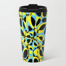 yellow blue circle pattern Travel Mug
