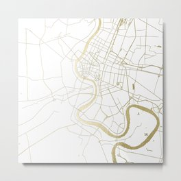 Bangkok Thailand Minimal Street Map - Gold Metallic and White II Metal Print