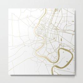 Bangkok Thailand Minimal Street Map - Gold Metallic and White II Metal Print