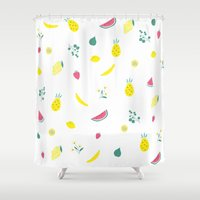 fruits Shower Curtains featuring Fruits by haroulita