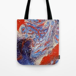 red and blue flow Tote Bag
