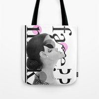 typo Tote Bags featuring typo woman by Stylegrafico