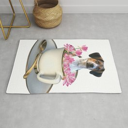 Coffee Cup - Jack Russell  Dog - Lotos Flowers Rug