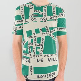 PARIS MAP GREEN All Over Graphic Tee