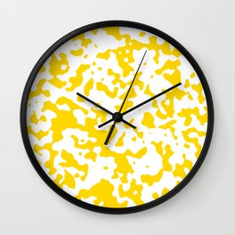 Spots - White and Gold Yellow Wall Clock
