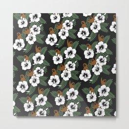 Sloth and Hibiscus Flowers Metal Print