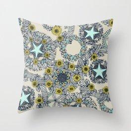 cirque fleur stone aqua star Throw Pillow