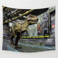 sci fi Wall Tapestries featuring T-Rex Sci-Fi by FantasyArtDesigns