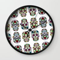 sugar skulls Wall Clocks featuring Sugar skulls by very giorgious