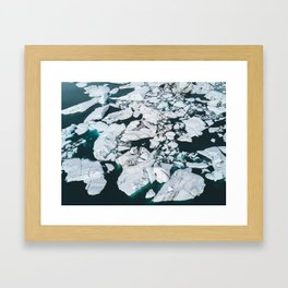 Icelandic glacier icebergs from above - Landscape Photography Framed Art Print